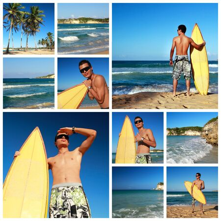 Collage with surfer with surfboard on tropical beach, Dominican Republic Stock Photo - 11318019