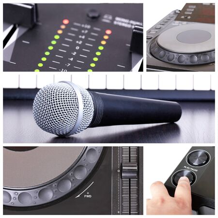Dj tools collage with parts of cd player, microphone  and mixer photo