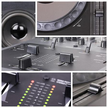 sono: Collage Dj avec des parties de lecteur cd et table de mixage