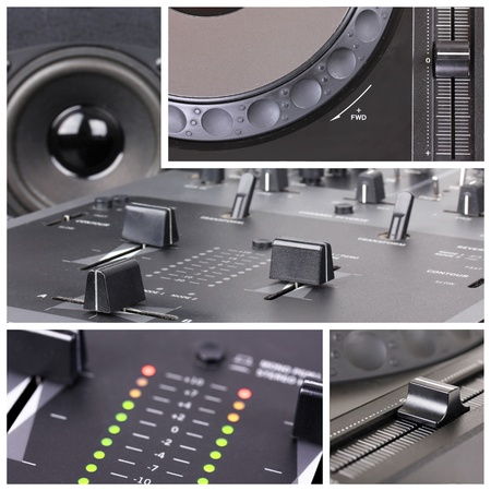 mezclador: Dj Collage con las partes del reproductor de CD y mezclador