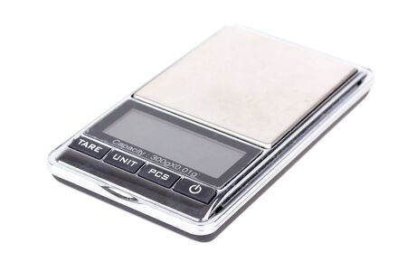 Digital scales, isolated on white background photo