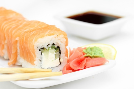 Sushi roll philadelphia and soy sauce, closeup Stock Photo - 11950196