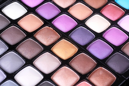 Make-up eye shadows palette, closeup photo