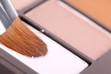 Make up brush in white eyeshadows, macro photo