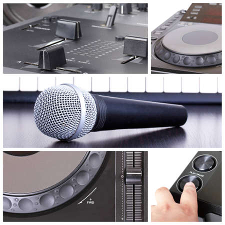 audio mixer: Dj tools collage with parts of cd player, microphone  and mixer