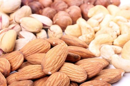 Assortment of nuts, closeup shot Stock Photo