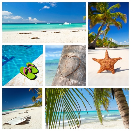 Romantic tropical collage with different parts of caribbean landscape