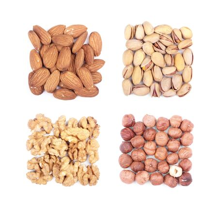 Nuts collage isolated on white photo