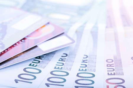 Euro banknotes and credit cards, Closeup  photo