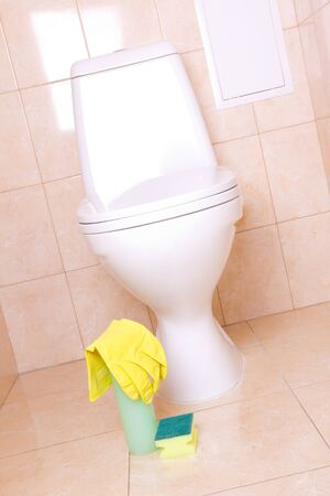 Sanitary tools for clean toilet photo