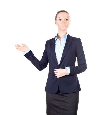 Business woman showing something, isolated on white photo