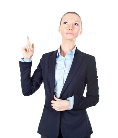 Business woman pointing up on white background Stock Photo - 13175622