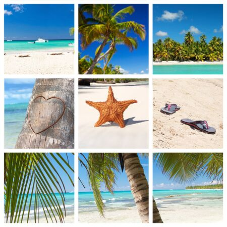 Tropical collage with caribbean landscape photo