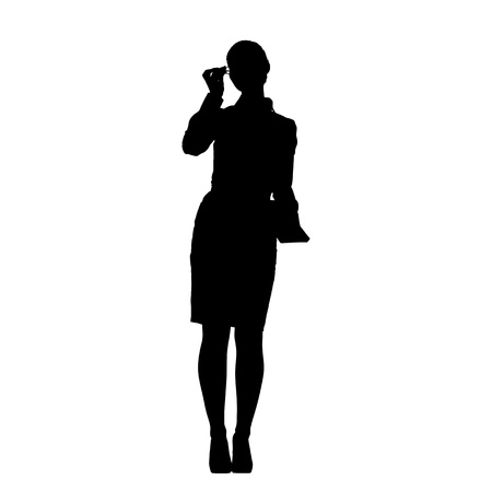 business women: Silhouette of successful business woman, isolated on white background