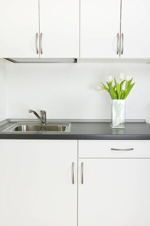 Kitchen interior, tulips in vase on worktop Stock Photo - 14040160