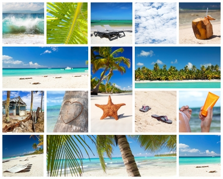 republic dominican: Tropical collage with different parts of caribbean landscape