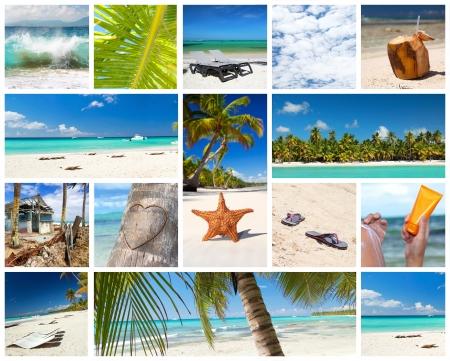 bahamas: Tropische collage met verschillende delen van caribbean landschap