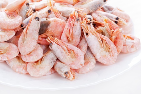 Pile of frozen shrimps on plate, closeup on white  photo