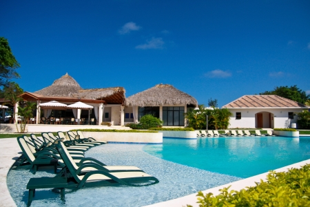 Caribbean resort with swimming pool, Dominican Republic
