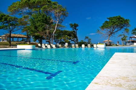 republic of dominican: Tropical resort with swimming pool, Dominican Republic