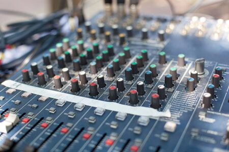 Professional sound mixer control desk, closeup  photo