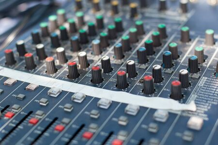 Professional sound mixer control desk photo