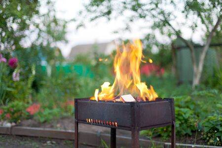 brazier: Big flame in barbecue, outdoor