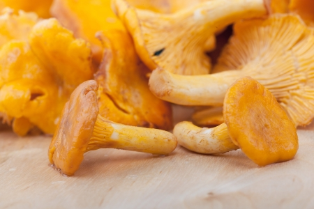 Chanterelles on wooden table, closeup photo