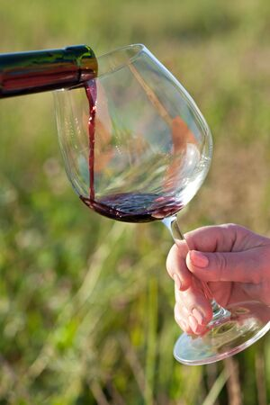 Pouring red wine into glass, outdoor photo