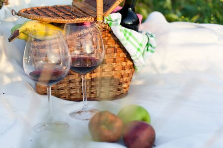 Outdoor picnic setting with red wine and fruits photo
