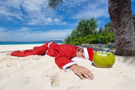 Santa Claus in tropic paradise