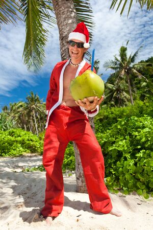 Santa Claus in tropic paradise Stock Photo - 16062069