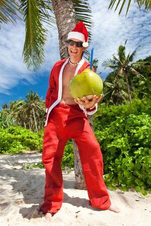 Santa Claus in tropic paradise Stock Photo - 16062069