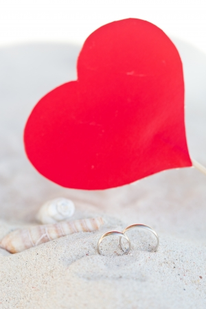 valentine s day beach: Celebration Valentine s day on beach Stock Photo
