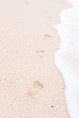 Footsteps in the sandy beach photo