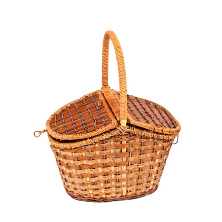 Basket for picnic isolated on white  photo