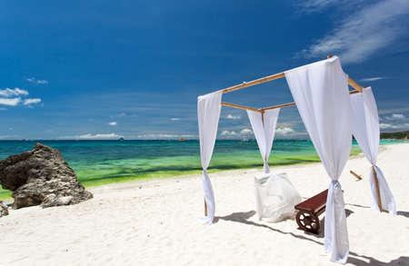 bahamas celebration: Wedding arch on tropical beach