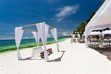 Wedding arch decorated on caribbean beach Stock Photo - 21681833