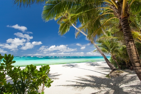 Tropical beach with white sand, Philippines, Boracay Island Stock fotó
