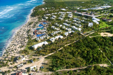 Aerial view of caribbean resort, Bavaro, Dominican Republic   photo