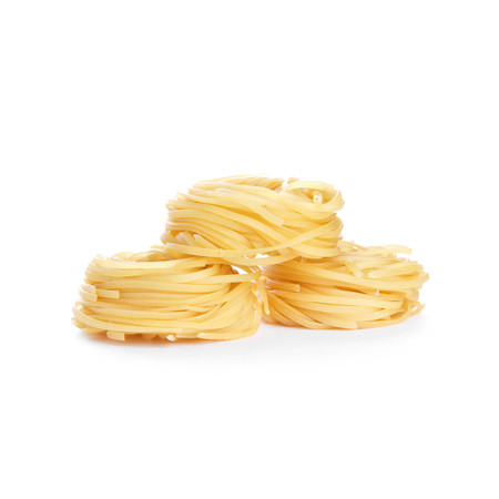 Tagliatelle macaroni isolated on white background photo
