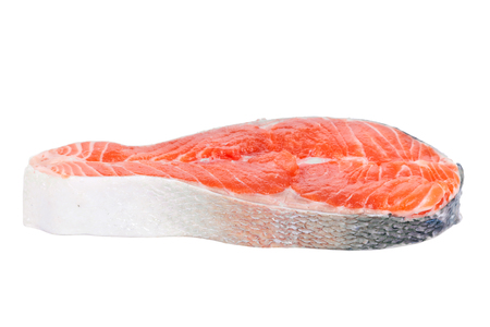Steak trout isolated on white background photo