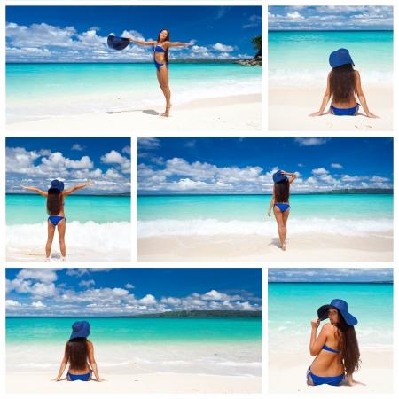 Collage with woman in bikini relaxing on beach photo