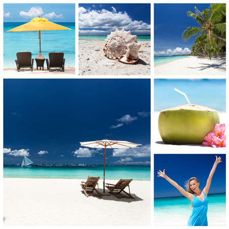 Different views from tropical beach. Travel collage photo