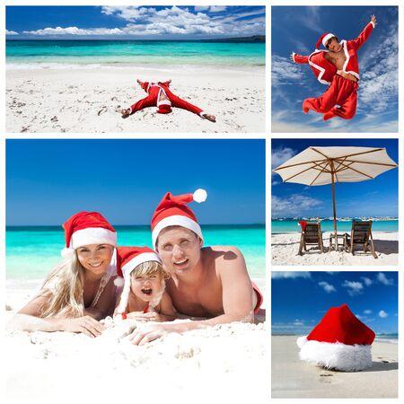 Christmas on caribbean beach. Collage  photo