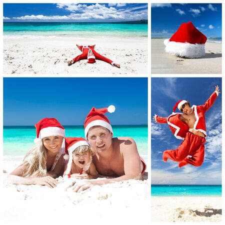 Christmas on caribbean beach. Collage  photo