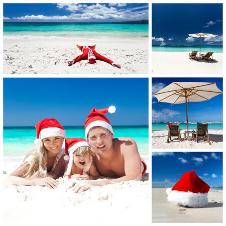Christmas on tropical beach. Collage  photo