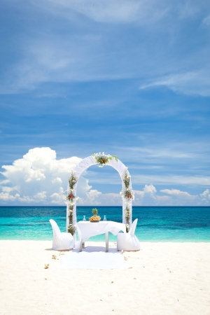 Beautiful wedding arch on tropical beach, nobody. Travel wedding photo