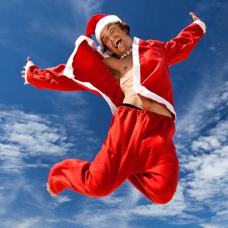 bahamas celebration: Santa Claus jumping