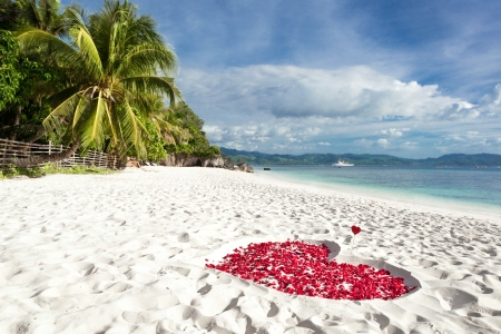 Heart of roses petals on tropical sandy beach. Nobody. Love concept photo